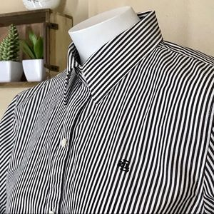 Lauren Ralph Lauren Striped Monogrammed Button-Up